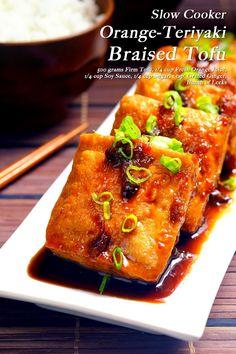 Slow Cooker Orange-Teriyaki Tofu A fresh take on the Asian favorite Teriyaki dish. Going on Tofu Slow Cooker Recipe, Vegan Slow Cooker, Slow Cooker Recipes, Crockpot Recipes, Tofu Recipes, Vegetarian Recipes, Easy Recipes, Teriyaki Tofu, Teriyaki Sauce