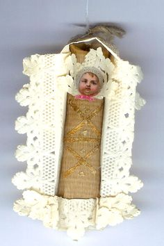 Dresden and scrap baby in lace bed 19th c Germany  collection Linda Pastorino