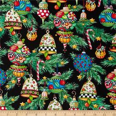 Trimming the Tree Ornaments Black from @fabricdotcom  Designed by Mary Engelbreit for Quilting Treasures, this fabric is perfect for quilting, apparel and home décor accents. Colors include  red, blue, yellow, grey, green, and white.