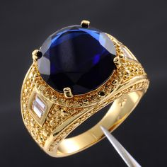 $8.39 - Size 9,10,11,12,13 Valuable Mens Round Sapphire 18K Yellow Gold Filled Gem Ring #ebay #Fashion