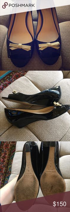 Kate Spade wedge shoes, size 8 Only wear to the soles. Patent leather looks good. Exactly as seen in photo. kate spade Shoes Heels