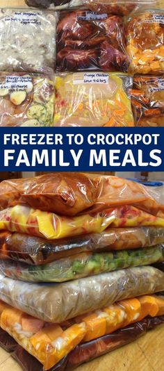 Easy Crock Pot Freezer Meals Freezer to crockpot family meals. Over a month of easy recipes for stress free weeknight dinners.Freezer to crockpot family meals. Over a month of easy recipes for stress free weeknight dinners. Freezer Bag Meals, Make Ahead Meals, Freezer Recipes, Freezer Meals For Crockpot, Dinner Crockpot, Easy Healthy Crockpot Meals, Healthy Recipes, Crockpot Meals Easy Families, Healthy Family Meals