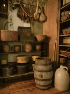 I just love everything about this setting. The old barrel & jug on the floor looks so nice.