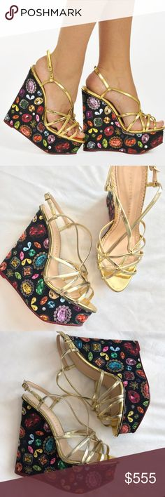 """Charlotte Olympia wedges Brand new Charlotte Olympia wedges size 38.5. No box. Retail price $895. Super stylish and comfy. A bejeweled platform wedge and slim metallic straps intensify the modern glamour of an Italian-crafted sandal that's destined to steal the show. 5 1/2"""" (140mm) heel; 2"""" platform Adjustable ankle strap with buckle closure. Leather upper, lining and sole. made in Italy. Beautiful pair! Reasonable offer are welcome. Charlotte Olympia Shoes Wedges"""