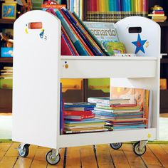 Pin for Later: 19 Unique Ways to Store and Display Your Tots' Books The Land of Nod Local Branch Library Cart Book Storage, Crate Storage, Kids Storage, Storage Shelves, Storage Ideas, Library Cart, Mini Library, Boy Room, Kids Room