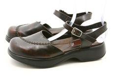 Dansko 41 womens size 10.5 - 11 Brown Leather Open Back Clogs Ankle Strap Golden #Dansko #Clogs #style #fashion @ebay