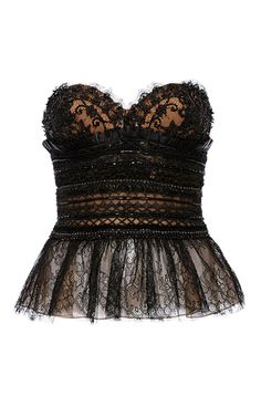 Strapless Beaded Lace Bustier by MARCHESA for Preorder on Moda Operandi