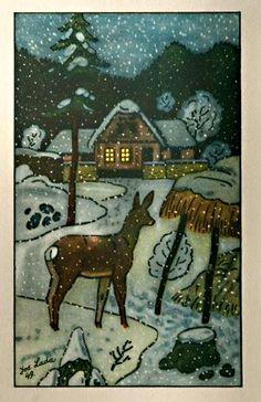 1949 Christmas Deer, Christmas Cards, Vintage Christmas, Slovak Language, Winter, Folk Art, Woodland, Moose Art, The Past