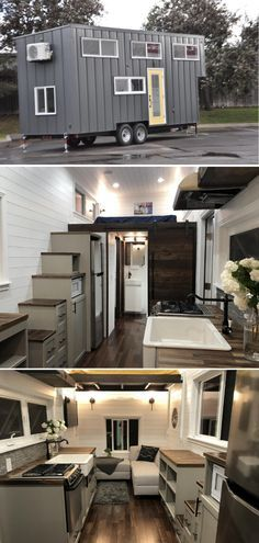 This 3 bedroom tiny house offers modern appliances, luxurious sleeping options, and a separate bathroom. Building A Tiny House, Tiny House Plans, Tiny House On Wheels, Tiny House Company, Tiny House Listings, Prefab Homes, Tiny Homes, Blue Siding, Tiny House Community