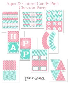 Aqua and Cotton Candy Pink Chevron, Printable Party Package - Coordinating Colors - Personalized DIY Party Printables .. acp01