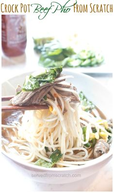 Make your own Beef Pho From Scratch in your trusty Crock Pot! You'll be surprised at just how much it tastes like Pho from your favorite Vietnamese Restaurant! Asian Recipes, Crockpot Recipes, Healthy Recipes, Ethnic Recipes, Soup Recipes, Oriental Recipes, Healthy Soups, Delicious Recipes, Healthy Eating