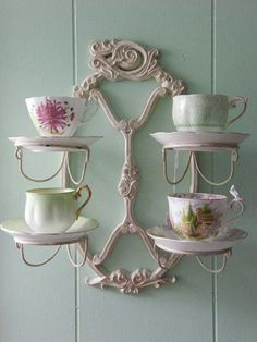 I want a couple of these for my tea cup collection. Vintage Tea, Vintage China, Shabby Style, Shabby Chic, Tea Cup Saucer, Tea Cups, Tea Cup Display, Home Decoracion, Cuppa Tea