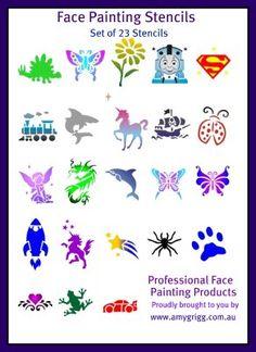 Printable Cheek Art Designs | Face Painting Stencils- Full Set of 23 Stencils