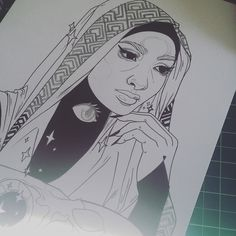 Progress on this babe. Patterns are a total pain but I love the way it looks #art #arte #nawden #artistsoninstagram #inks #hijab #magical #pattern #design by stefari