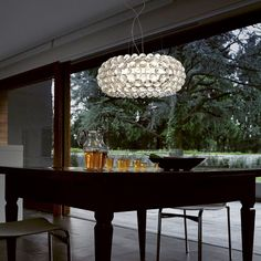 The best dining room sets created by Patricia Urquiola arrived! The best of Patricia Urquiola for your dining room. Acrylic Chandelier, Chandelier Ceiling Lights, Ceiling Pendant, Modern Chandelier, Pendant Lighting, Pendant Lamps, Wall Lights, Pendant Light Fitting, Round Pendant Light