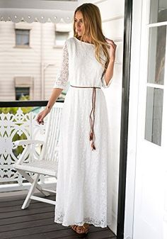 VESTIDO MAXI de ENCAJE  Añadir en tu armario un vestido maxi blanco super dulce, con encaje florar es sin duda un acierto.    Viene con un cinturón trenzado de hojas chic.  Es perfecto con un colgante de collar y un par de zapatos de tacón alto o cuñas.  ENTREGA estimada > 02 Agosto.