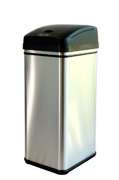 iTouchless Deodorizer Touch-Free Sensor 13-Gallon Automatic Stainless-Steel Trash Can iTouchless