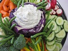 'Core' out a cabbage to use as a dip bowl - adds great color! Your guests will eat up this fun and delicious idea at your next party! Think Food, Food For Thought, Appetizer Recipes, Appetizers, Great Recipes, Favorite Recipes, Good Food, Yummy Food, Tasty