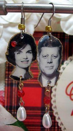 John F Kennedy and Jackie Kennedy Earrings by ilovemyauntdebbie, $21.00 cute!