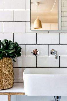 White subway tiles, dark grout