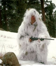 Snow Camo Ghillie #snowsniper #sniper #snowghillie #ghilliesuit #arcticghllie Visit us $165.00 http://www.pacificdefensesupply.com/bushrag-ultralight-ghillie-jacket-and-pants-snow-camo/  email us to buy sales@pacificdefensesupply.com