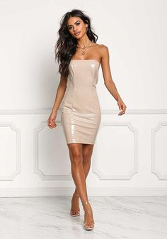 fc9ba09bec A flawless night out bodycon dress in a thick latex bodice with a lustrous  finish. Features front and back seams