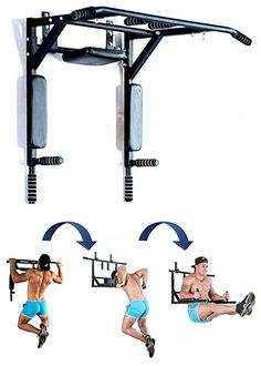 Best Portable Wall Mounted Pull Up Bar - Chin Up Bar With Dip Bars For Home And Outdoor - Perfect Pull Up Machine - Up To 200kg, Workout Crossfit Fitness Machine