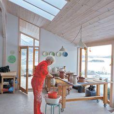 Elisa Helland-Hansen at work in her studio. Her Studio Visit can be found in the April 2016 issue of Ceramics Monthly. Garage Art Studio, Studio Shed, Workshop Studio, Clay Studio, Ceramic Studio, Dream Studio, Basement Studio, Pottery Workshop, Ceramic Workshop