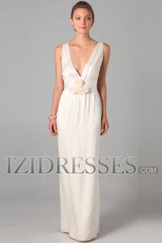 Sheath/Column V-neck Elastic Woven Satin Evening Dresses