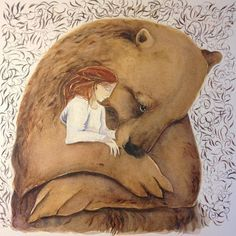 Resting with the brown bear Watercolour x 250 Sold Spirit Bear, Spirit Animal, Bear Watercolor, Bear Girl, Photo D Art, Love Bear, Whimsical Art, Art Images, Illustrators