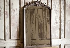 "Huge Antique Inspired Wood Framed Mirror from Antique Farm House. Made of glass and wood with an aged black finish. 56""H x 36""W x 2.5""D. $288.00"