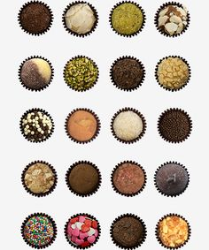 Various brigadeiros (Brazilian condensed milk-fudge sweets).