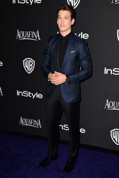 Miles Teller in Ermenegildo Zegna at the InStyle Post-Golden Globe Party. [Photo by Tyle Boye] Allegiant, Insurgent, Miles Teller, Divergent Trilogy, Aiden Turner, Theo James, Lorde, Well Dressed Men, Party Photos