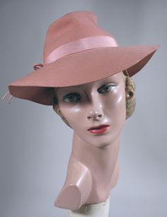 Past Perfect Vintage: Rose pink 1940s fedora
