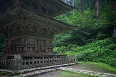 5-story pagoda (gojyuunotou, 五重塔) by foliosus, via Flickr. A path of 2,466 stone steps leads to the summit of Mount Haguro amidst 600-year-old sugi trees leading past the famous Gojū-tō (五重塔) five story pagoda and numerous shrines. The steps and the pagoda are listed as National Treasures. The Sanzan-Gosai-den temple (三山合祭殿) at the summit venerates the spirits of all three mountains.  In addition to religious pilgrims, travellers often stay at the Saikan temple lodgings.