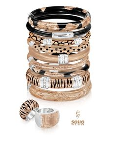 SOHO introduces its Rose and Rose Safari collection. Handcrafted in Italy, these sterling silver, enamel and diamond pieces are inlayed with gold leaf. Enamel Jewelry, Jewellery, Arm Party, Silver Enamel, Gold Leaf, Soho, Jewelry Stores, Safari, Romance