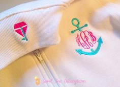 Anchor monogram pullover with sailboat critter collar