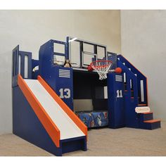 The Ultimate Basketball Bunk Bed. Includes glass backboard slide staircase trundle built-in desk personalized lockers and storage drawers. Basketball Bedding, Sports Bedding, Bunk Beds With Stairs, Kids Bunk Beds, Backboards For Beds, Kids Bedroom, Bedroom Decor, Kids Room Furniture, Bunk Bed Designs