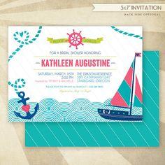 Nautical Bridal Shower  CUSTOM PRINTABLE Invitation by HWTM, $16.50