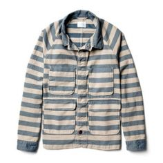 Hooray for Chambray: This playful, handcrafted striped chambray chore jacket is just lovely.