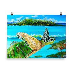 Large Green Turtle • Art Print