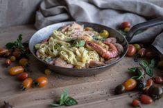 Fettuccine com camarão e tomate | massa fresca