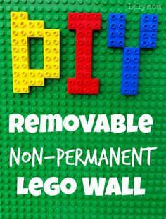 DIY Removable Non-Permanent Lego Wall from Lalymom. Great for any Duplo or Lego Lover.