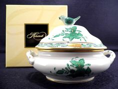 HEREND CHINESE BOUQUET GREEN,MINI TUREEN BIRD LID END, WITH ORIGINAL BOX