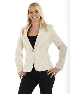 Ladies One Button Line Womens Blazer Striped Beige Jacket Cream Size 8-20[16]