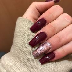 75 Winter Nails inspire every 75 Winter Nails Amaze Everyone Red matte nails with a little gli . Red Matte Nails, Red Acrylic Nails, Burgundy Nails, Acrylic Nail Designs, Nail Art Designs, Gel Nails, Nails Design, Burgundy Color, Burgundy Wine