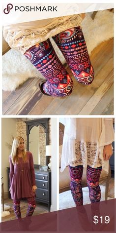 Paisley-feather leggings, beautiful colors! Soft-brushed knit, 92% polyester 8% spandex. One size fits S-L. This is the perfect pattern for spring and summer! Price firm unless bundled. Thanks! Pants Leggings