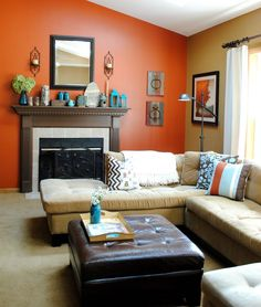 Elegant Burnt Orange Focal Wall With The Black Ledge Shelves. Part 2