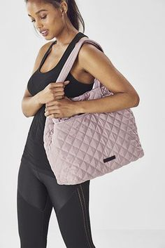 Fabletics Bags The Cascade Quilted Tote Womens Pink One Size Fits Most No Equipment Workout, Classic Style, Pink Ladies, Footwear, Shoulder Bag, Dusty Rose, How To Wear, Bags, Women