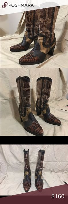 """Stuart Weitzman Brown Snake Cowboy Boots Stuart Weitzman Brown Snake Mid-shaft Cowboy Boots. Snake leather print done in different shades of brown with brass stud detailing and a side zipper. Leather lined with leather insoles. 3"""" heel height. Made in Spain.Like New. Box included. Stuart Weitzman Shoes Heeled Boots"""